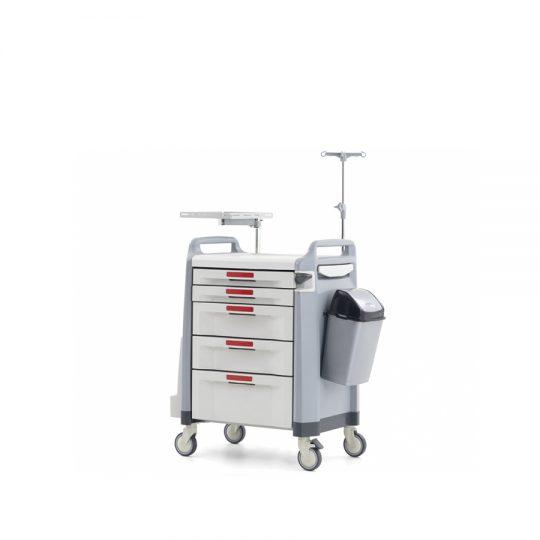 Ref. : MA-03 Chariot d'urgence avec porte-bouteille d'oxygène avec table de réanimation et support défibrillateur