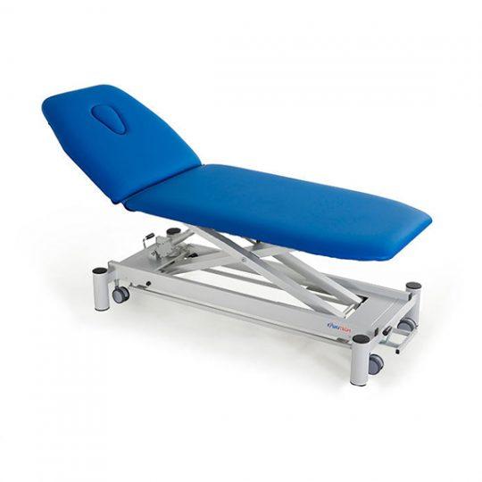 Table professionnelle à 2 plans réglable électriquement ou hydrauliquement en hauteur pour traitement, massage et examen médical.