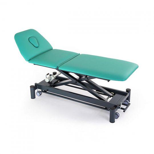 Table professionnelle à 3 plans réglable électriquement ou hydrauliquement en hauteur pour traitement, massage et examen médical.