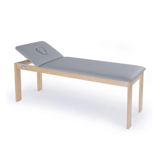 Table en bois à 2 plans à hauteur fixe pour traitement, massage et examen.